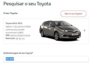 Sistema de marcações de serviço online da Toyota